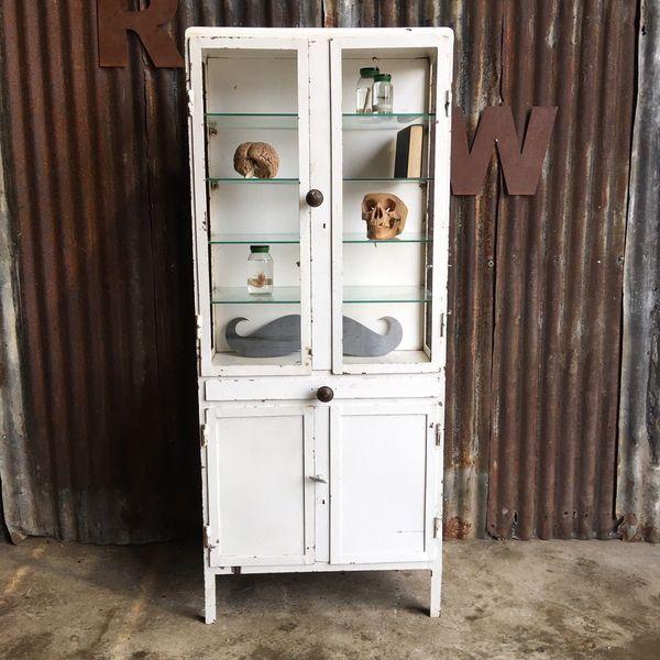 Vintage Metal Medical Old Cabinet Upcycled Display Cupboard Industrial Shelves