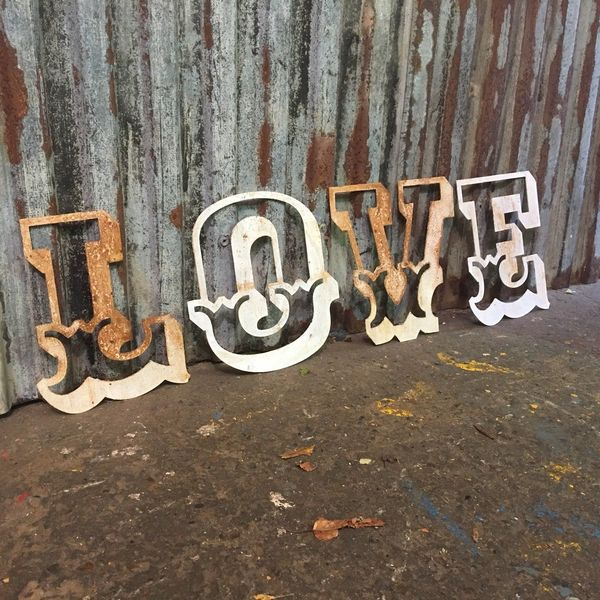 Rustic Love Letters Sign Rusted Vintage Shabby Chic Distressed Carnival Retro