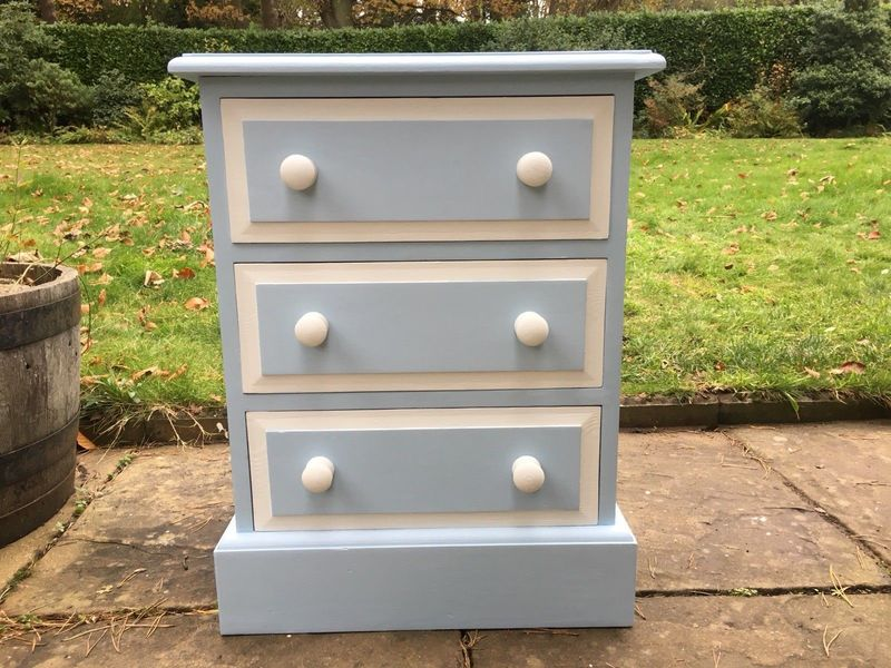 Solid Pine Bedside Drawers In Polar Blue & White