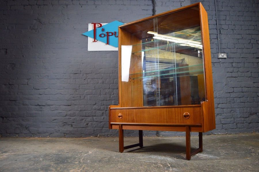 Vintage Retro Mid Century Turnidge Of London Teak Glazed Display Cabinet