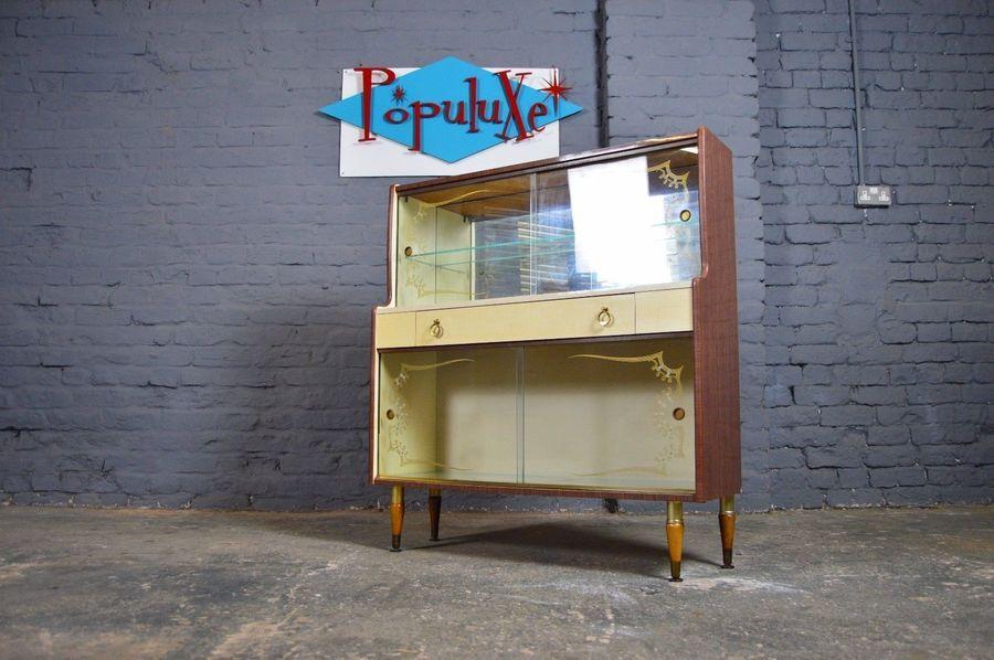 Vintage Retro Mid Century Kitsch Atomic Cream Glazed Formica Display Cabinet