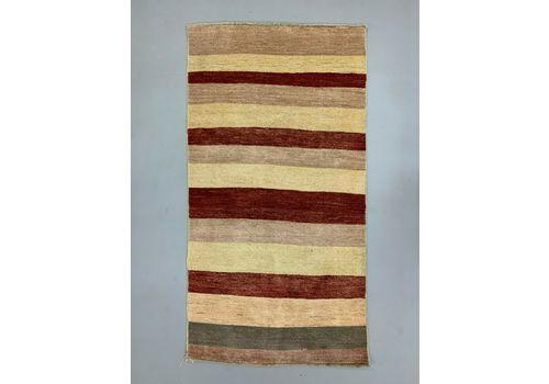 Afghan Chobi Art Deco Stripe Rug 186x98 Cm Pink, Beige, Medium
