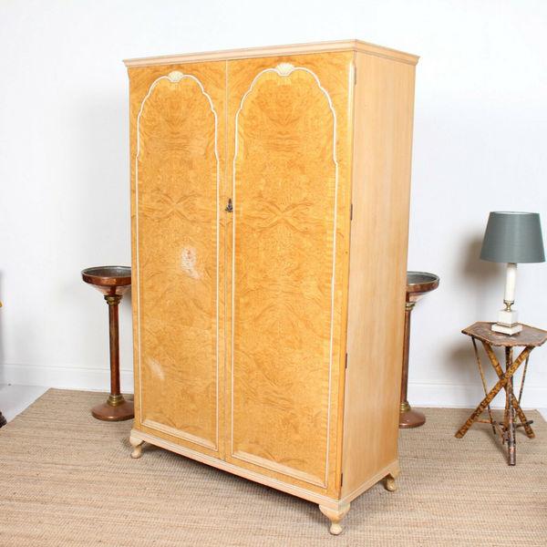 Birdseye Maple Wardrobe Fitted Armoire Antique Vintage ...