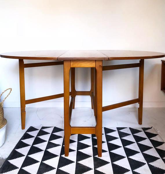 Mid Century Retro Vintage Dining Table Drop Leaf