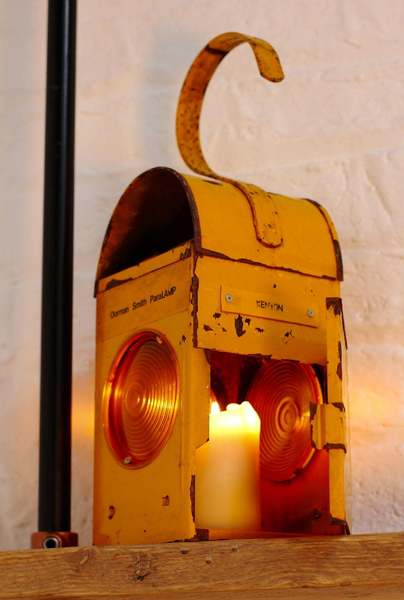 Kenyon Yellow Vintage Urban Upcycled Industrial Road Workers / Railway Signalling Candle Holder Lantern