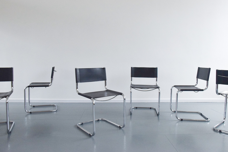 Vintage Set Of 6 Marcel Breuer For Habitat Black Leather And Chrome Tubular Cantilever Dining Chairs