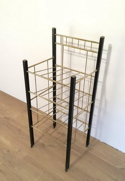 Art And Crafts Brass And Ebonized Wood Rack