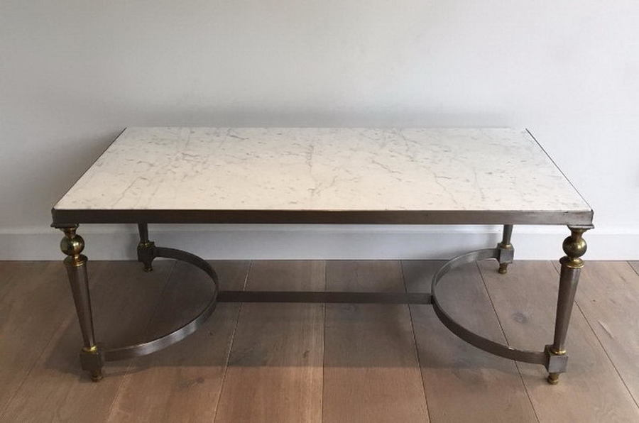 Marble Top Brass Coffee Table.Very Nice Brushed Steel And Brass Coffee Table With Marble Top Circa 1940