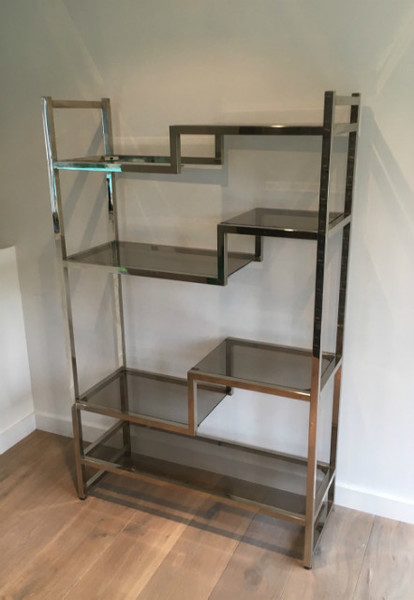 Attributed To Willy Rizzo. Design Chromed Shelves. Circa 1970