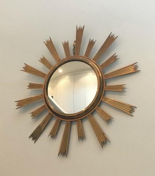 Rare Gild Brass Sunburst Mirror. Circa 1960