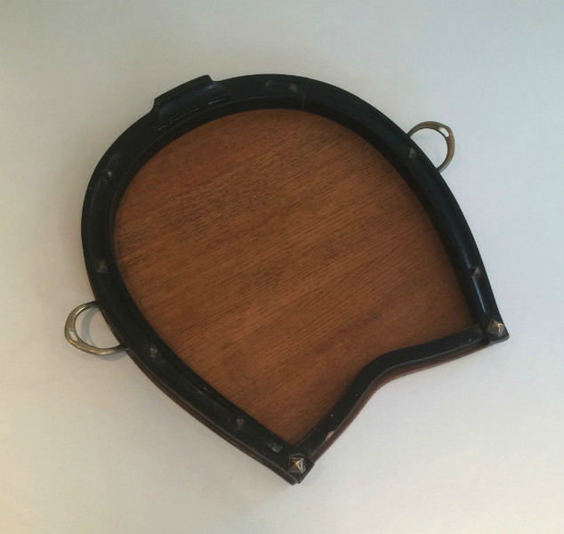 Unusual Shoehorse Wood And Brass Tray. Circa 1940