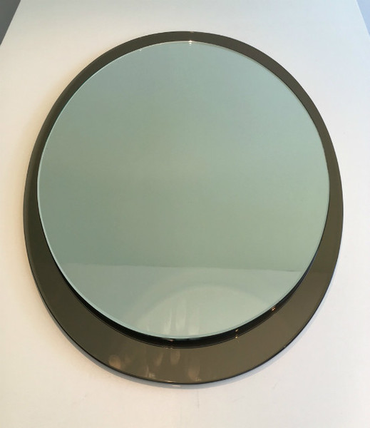 Attributed To Fontana Arte. Large Oval Mirror. Circa 1970