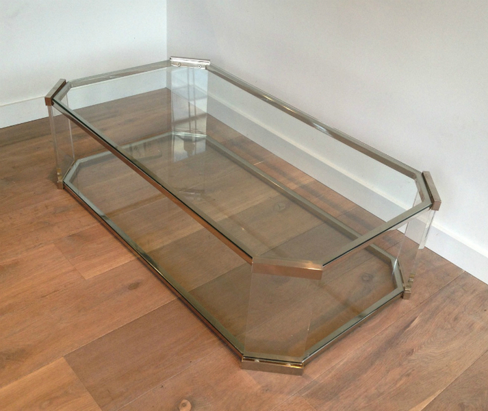Large Octogonal Glass, Lucite And Chrome Coffee Table. Circa 1970