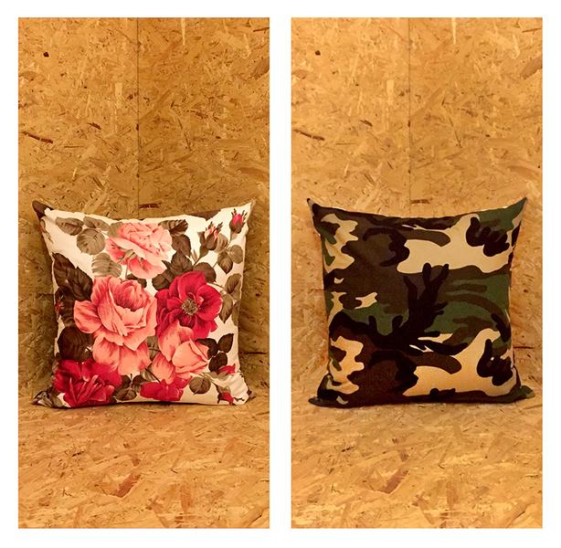 "The ""Camo & Rose"" Large Cushion"