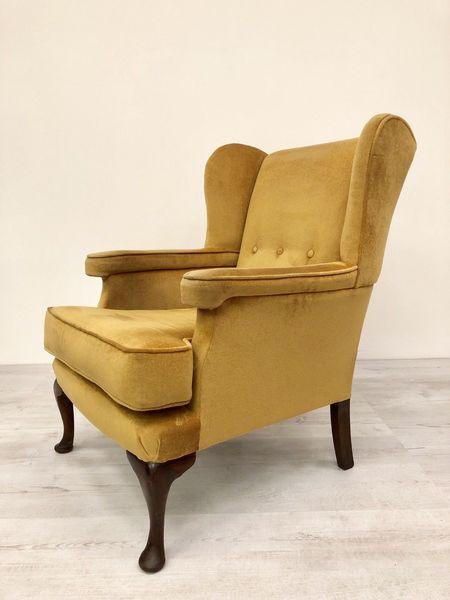 Golden Velour Wing Back Arm Chair