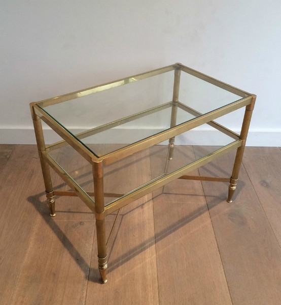 2 Tiers Brass Side Table. Circa 1960