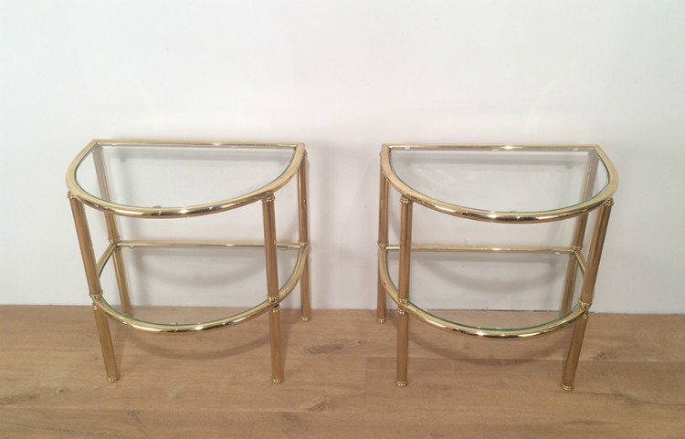 Pair Of Brass Rounded Side Tables. Circa 1970