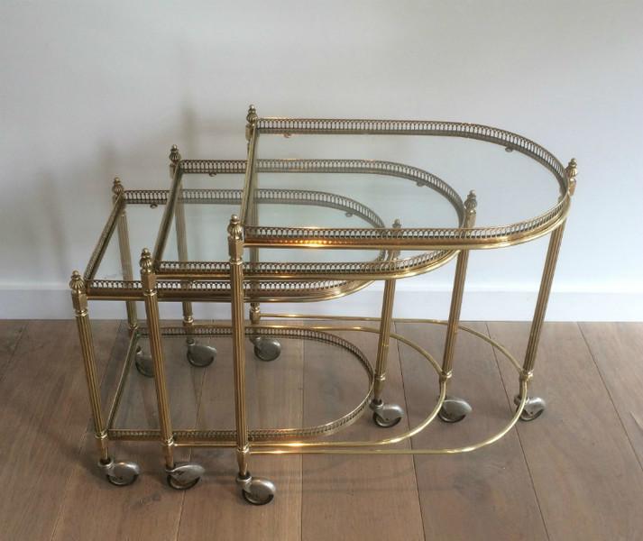 Maison Bagués. Set Of 3 Brass Nesting Tables On Casters. Circa 1940