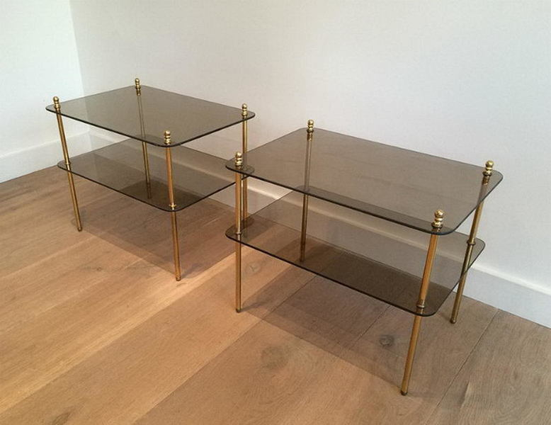 Pair Of Brass And Smoked Glasses Side Tables. Circa 1960