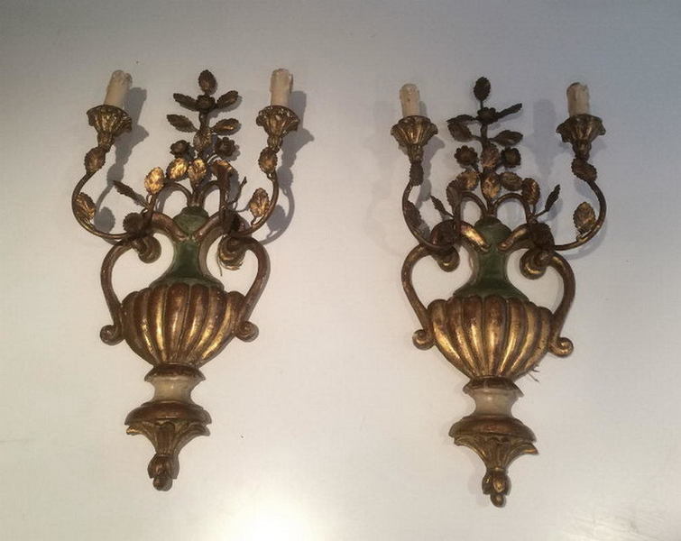 Pair Of Italian Carved Wood Sconces. Circa 1940