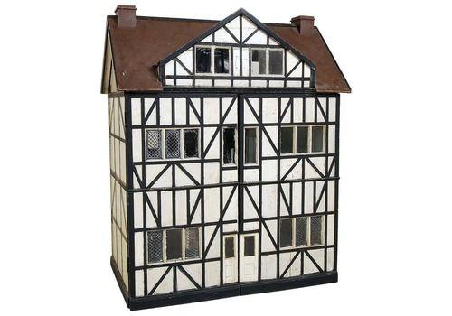 Large Antique Scratch Built Model English Tudor Mansion Wooden Doll's House