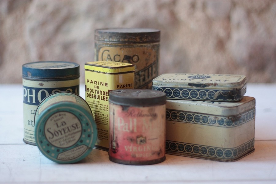Collection Of Vintage French Tin Boxes
