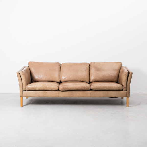 Erik Jørgensen Tan Leather 3 Seater Sofa  photo 1