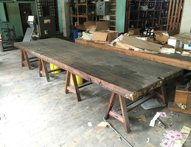 Very Long Low Table On Tresttles (About 4 Meters Long)