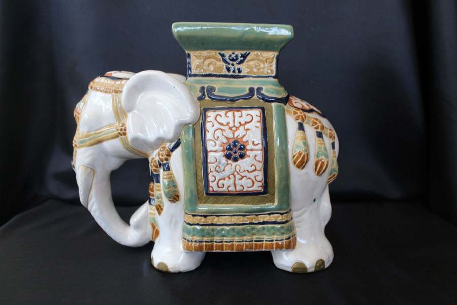 Ceramic Elephant Stand Decoration White Elephant Decoration Green Brown Blue Majolica Glaze 11 Inch High Plant Stand Unknown Vinterior