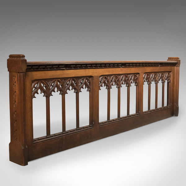 Antique Pew Front, Victorian Gothic Choir Stall, English, Oak, Pugin Overtones C.1880