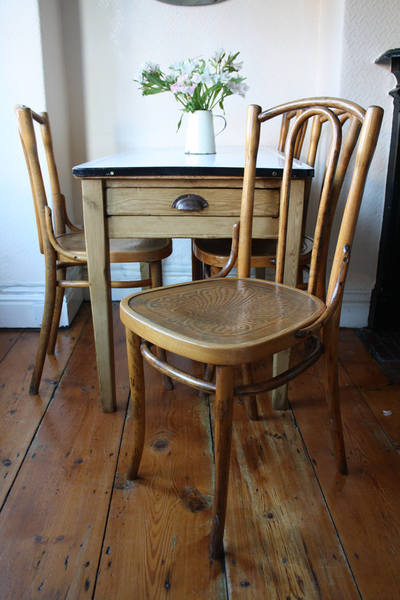 Handsome Set Of Four Stripped And Polished Bentwood Chairs