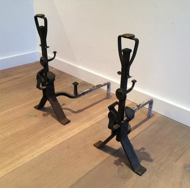 Pair Of Art And Craft Iron Andirons. Circa 1900