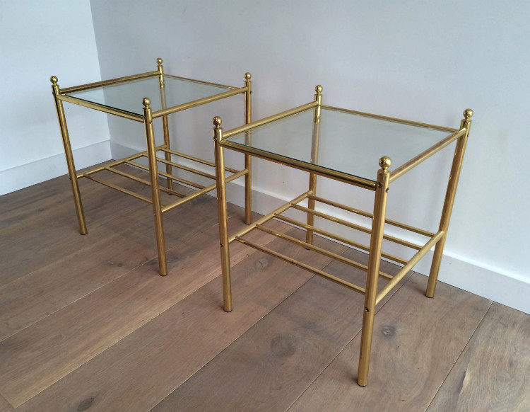 Pair Of Brass Side Tables. Circa 1980