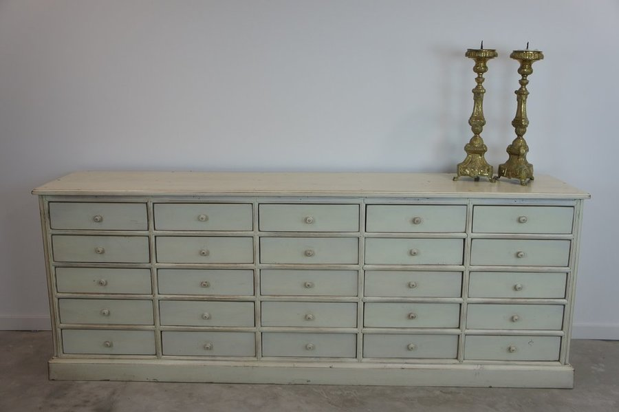 1930's Chestnut Wood Painted White Shop Counter (25 Drawers)