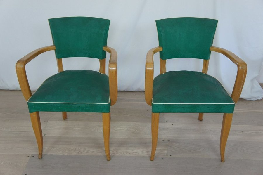 Mid Century Green Bridge Chairs Ready To Reupholster
