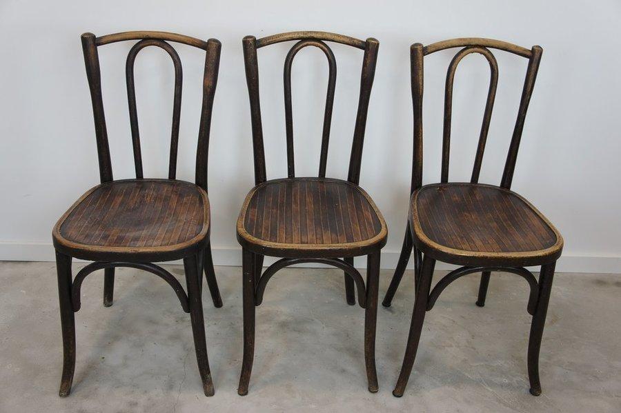 Set Of 3 Fischel Dark Bentwood Bistro Chairs