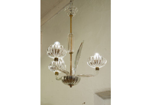 Venini Murano Chandelier, 3 Lights, 1950s