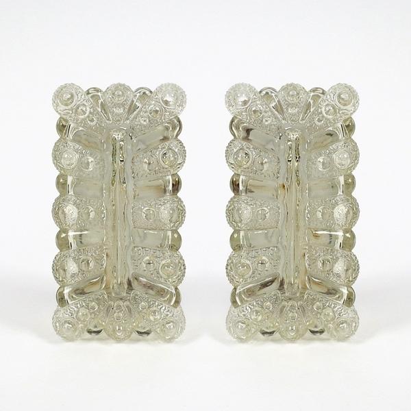 Set Of 2 Mid Century German Glass Wall Lights