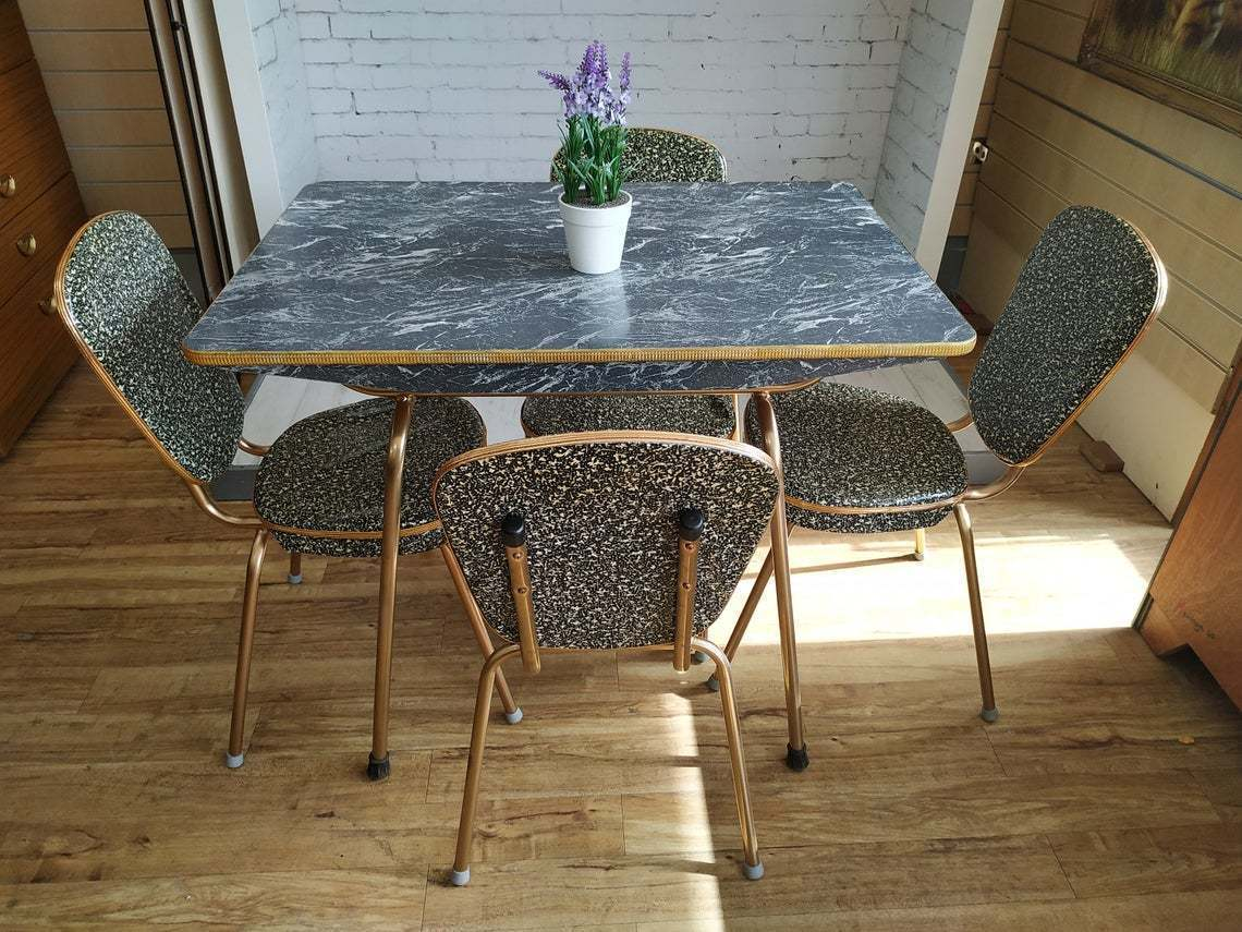 Vintage Formica Kitchen Table 4 Chairs Marble Effect Dining Table 1950 Retro Rare Vinterior