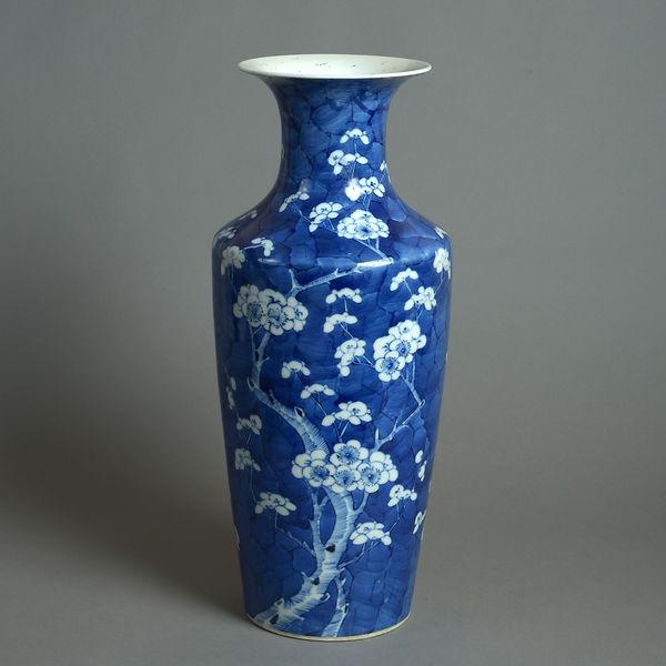 19th Century Qing Dynasty Blue & White Porcelain Vase