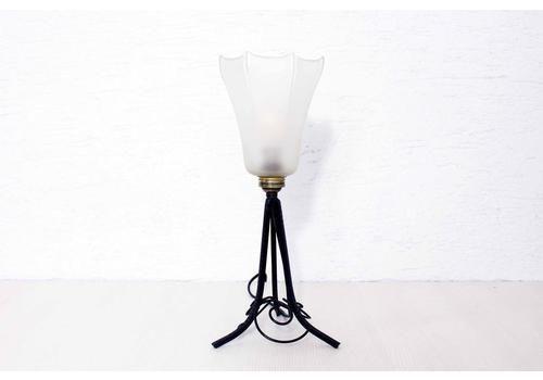 1930s Wrought Iron And Glass Lamp. Art Deco Art Nouveau