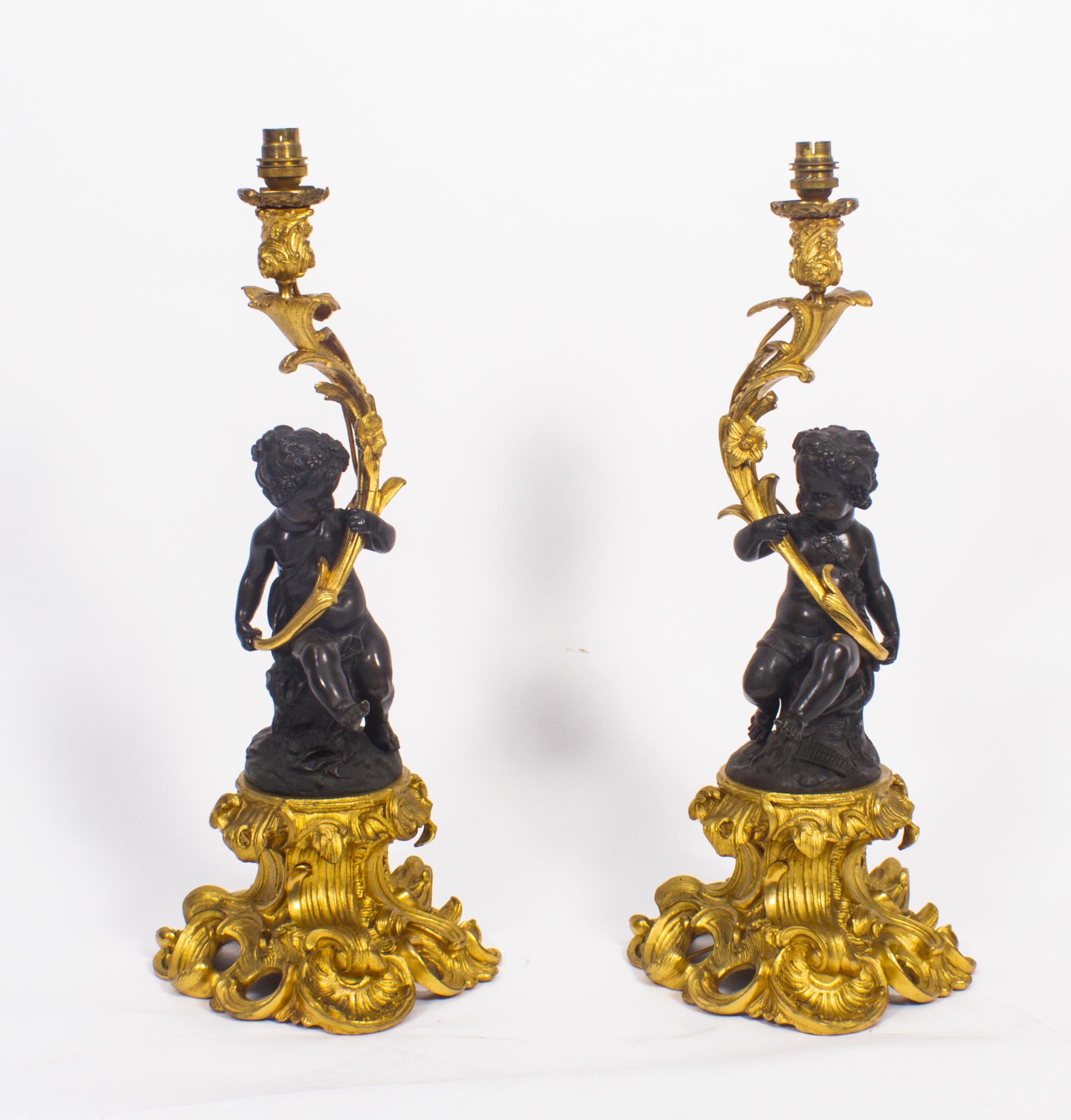 Antique Pair French Ormolu Patinated Bronze Cherubs Table Lamps 19th C Vinterior