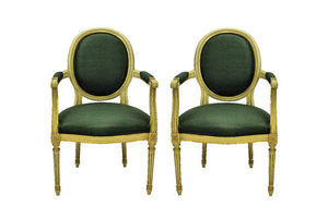 Thumb a pair of louis xvi style painted gilded armchairs in sage green silk 53596d50 64f3 45d7 b41f f72b8a09e9f4 0