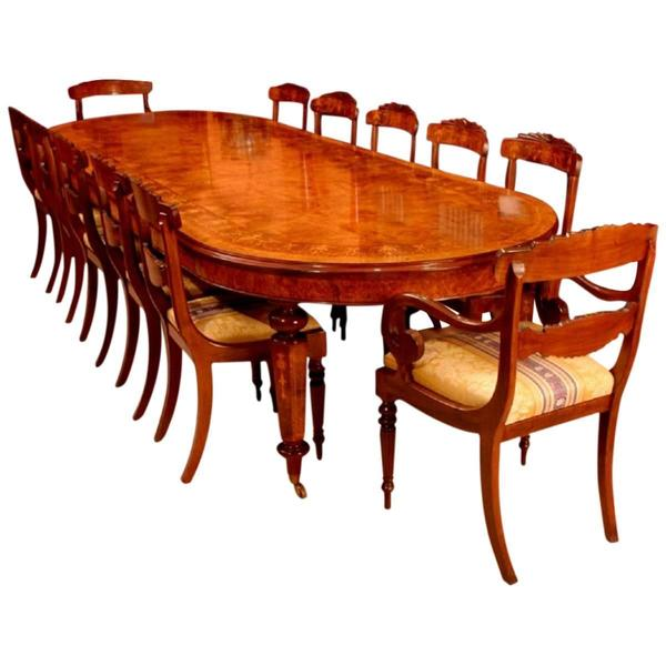 12ft Burr Walnut Marquetry Dining Table & 12 Chairs photo 1