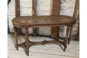 Thumb antique french long stool with cane seat in louis xvi style 0