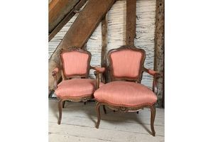 Thumb pair of antique french open armchairs in louis xv style with coral linen upholstery 0
