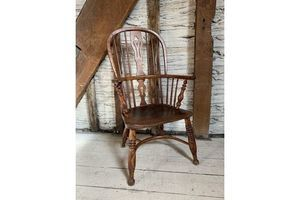 Thumb antique ash elm high back windsor country armchair circa 1840 0