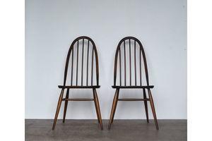 Thumb pair of vintage retro mid century ercol dark finish beech elm hoopback quaker windsor dining chairs lucian ercolani 0
