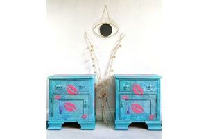 Thumb graffiti bedside cabinets matching pair punk lips bedside tables unique storage 1960s 0