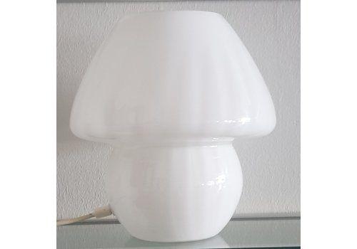 White Mushroom Table Lamp From Glashütte Limburg, 1970s